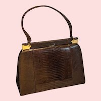 1950's Monitor Lizard Kelly Evening Bag from France