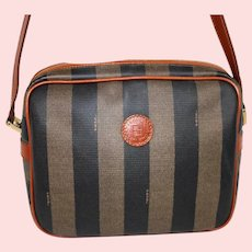 Vintage Fendi Roma Pequin Stripe Shoulder Bag from Italy