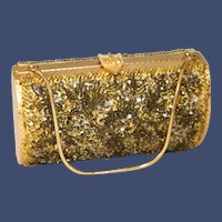 1940s Sequined Beaded Clamshell Box Bag