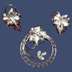 1950s Carl-Art Sterling Brooch Earring Set