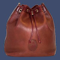 Vintage Mark Cross Pebbled Drawstring Tote from Italy