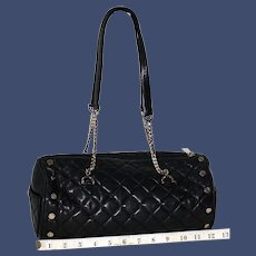 Vintage St. John Quilted Lambskin Studded Barrel Bag from Italy