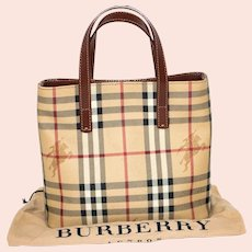 Vintage Burberry Nova Check Small Tote from Italy