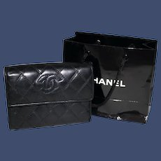 Vintage Chanel Tri-Fold Wallet in Quilted Black Lambskin