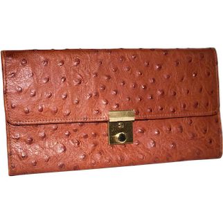 Vintage Ostrich-Embossed Calfskin Jewelry Tri-Fold Wallet from Italy