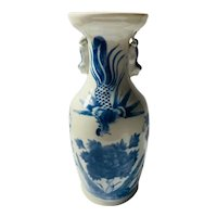 c. 1890 Chinese vase with foo dog handles and Phoenix hand painted design