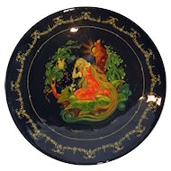 Hand painted Russian lacquer plate Palekh School signed