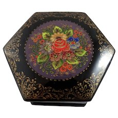 Signed Russian lacquer box with hand painted flowers