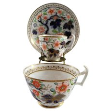 English New Hall Porcelain Cup and Saucer Trio c. 1810