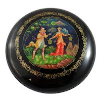 "Mstera Russian lacquer box entitled ""Along the Street"""