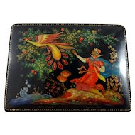 """1972 Russian Lacquer box with """"Firebird"""" fairy tale"""