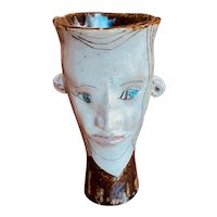 Contemporary Stoneware Face Vase by Julius Forzano (American, 1929- )