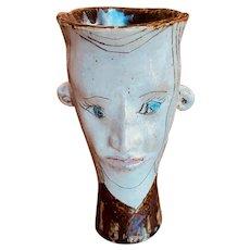 Contemporary Stoneware Face Vase by Julius Forzano (American, 1929- )