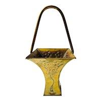 C. 1900 Art Nouveau Hand Hammered Brass Bride's Basket