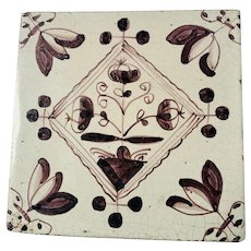 Early 19th c. Dutch Manganese Floral Tile