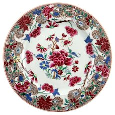 c. 1750 Chinese Export Porcelain Famille Rose Plate