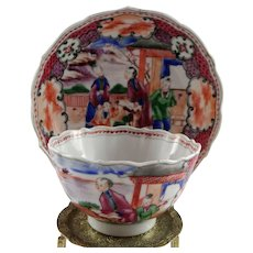 c. 1800 Chinese export porcelain cup and saucer in the Mandarin palette