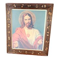 Folk Art Frame with Hand Carved Rosary Beads