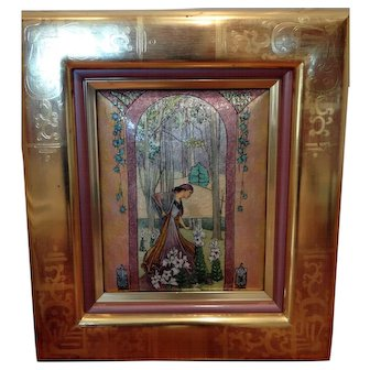 Incredible Enamel on Copper Art Nouveau style painting of a woman