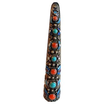 Chinese Silver Enameled Nail Guard with Turquoise and Coral