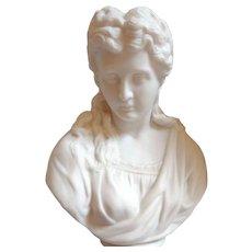 c. 1875 Robert Cooke Parian Statue/ Bust of Woman