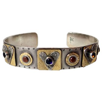 Mixed metal / sterling artisan cuff bracelet with hearts