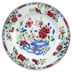 c. 1760 Chinese Export Famille Rose Porcelain Plate with thick pick and blue enamels