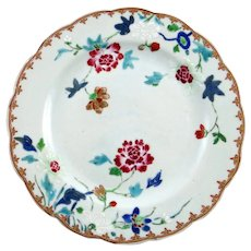 c. 1760 Chinese Export Porcelain Famille Rose Plate with scalloped border