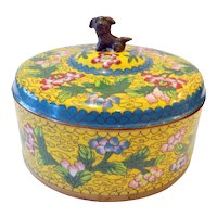 Chinese Cloisonne Box with Foo Dog Finial