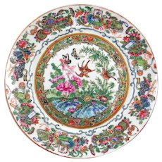 Famille rose Chinese export plate, early to mid 19th c., with auspicious symbols
