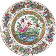 Qianlong famille rose Chinese export porcelain plate, early to mid 19th c., filled with auspicious symbols