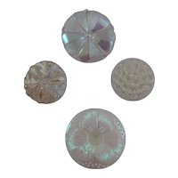 Set of Four Iridescent and White glass buttons