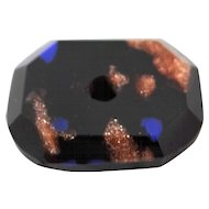Victorian Black, Goldstone and Blue Glass Whistle Button.