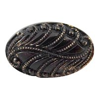 """Victorian Style Black Glass Fern Button Marked """"Le Chic"""""""