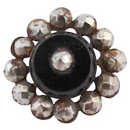 Victorian Steel Cut and Black Glass Button