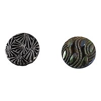 Two Black Czech Glass Buttons, Early 20th C.