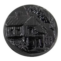 Victorian Black Glass Molded Button with Windmill Scene.  Late 19th c.