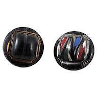 Two Black Glass Molded Buttons with Hand Painted Details