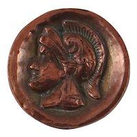 Vintage Copper-colored Roman Solider button