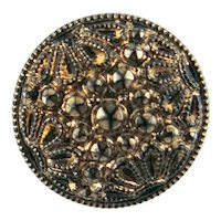 Early 20th c. Molded Black Glass Button with Gold Paint