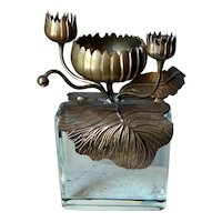 Chapman Lighting Brass Lily Pad Candle Holder Sculpture