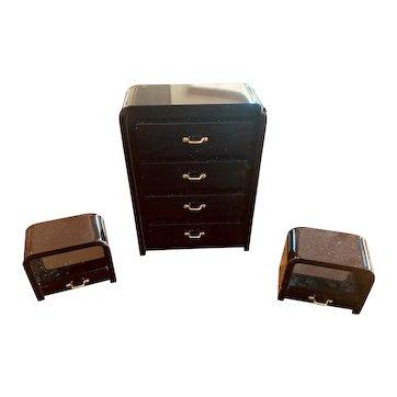 3-piece Set of Black Acrylic 1980s Miniature Bedroom Furniture