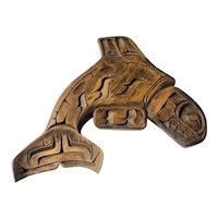 Salish hand carved Whale plaque by J. Murphy