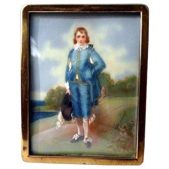 "Miniature portrait of the ""Blue Boy"" signed Gainsbourogh"
