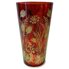 Late 19th c. Bohemian ruby tumbler with cut gilt decoration