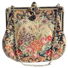 Early 20th c. Austrian Petite Point Purse with Enamel Frame