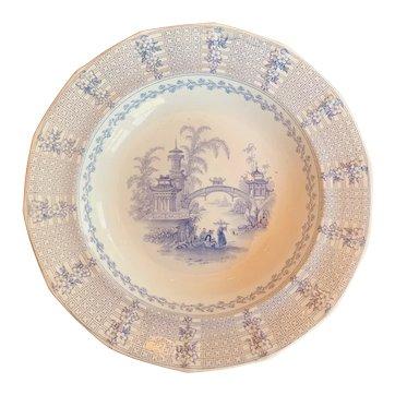 "c. 1850 Ridgway Transferware Shallow Bowl in the ""Chinese "" Pattern"