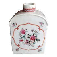 Famille Rose Chinese Export Porcelain Tea Caddy