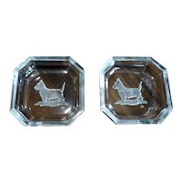 Pair of Hoffman Crystal Intaglio Scottie Dog Salts 1930s