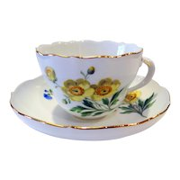 Meissen Porcelain Cup and Saucer with Yellow Floral (Buttercup) design